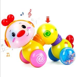 Musical press and go inchworm toy for baby